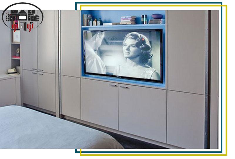 طراحی کمد دیواری با جایگذاری تلویزیون